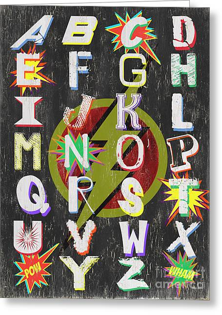 Superhero Alphabet Greeting Card by Debbie DeWitt