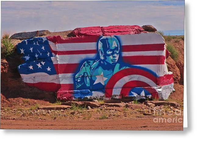 Superhero Captain America Greeting Card by John Malone