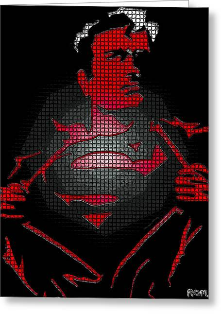 Superheroes Paintings Greeting Cards - Superman And His Temper Greeting Card by Robert Margetts