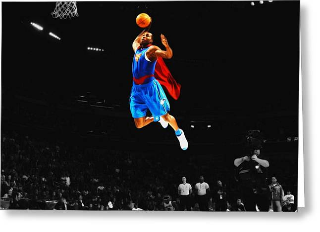 Superman Dwight Howard Greeting Card by Brian Reaves