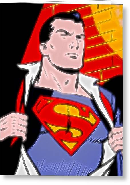 Superman Pop Art Greeting Card