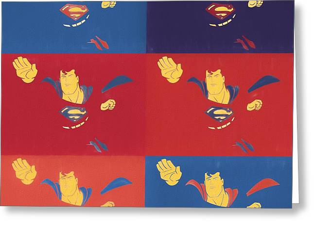 Superman Pop Art Panels Greeting Card by Dan Sproul