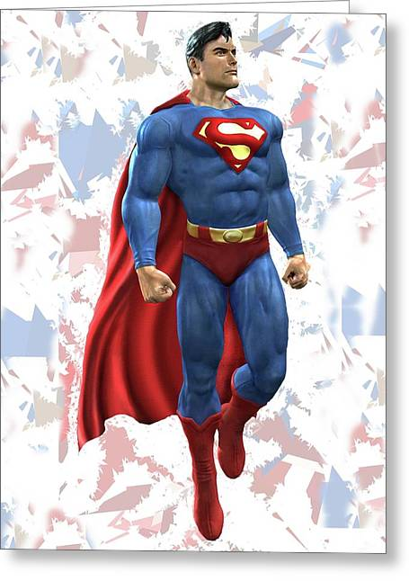 Superman Splash Super Hero Series Greeting Card by Movie Poster Prints