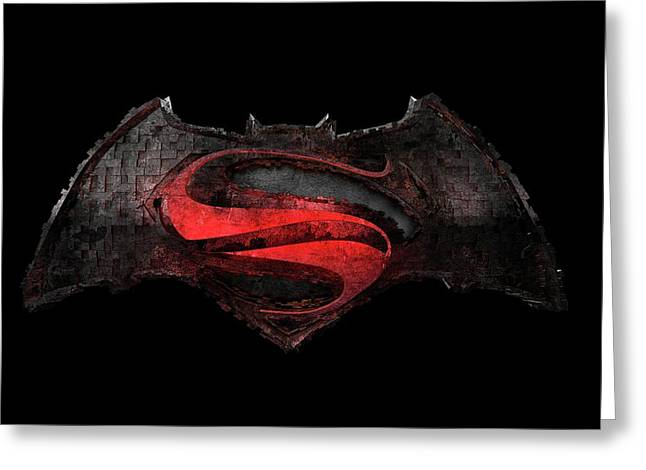 Greeting Card featuring the photograph Superman Vs Batman by Louis Ferreira