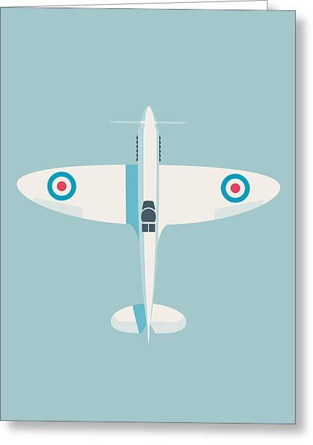 Supermarine Spitfire Raf Fighter Plane - Sky Greeting Card