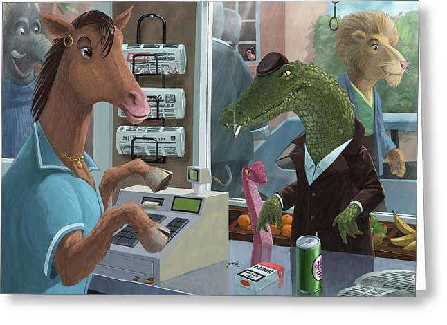 Supermarket Horse Serving Greeting Card by Martin Davey