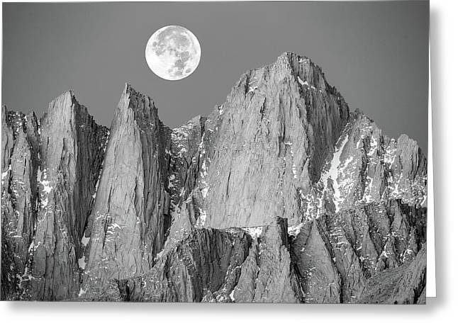 Greeting Card featuring the photograph Supermoon And Mount Whitney. by Johnny Adolphson