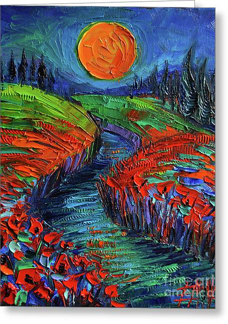Supermoon And Poppies Greeting Card
