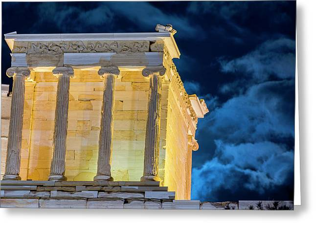 Greeting Card featuring the photograph Supermoon In Acropolis by Nikos Stavrakas