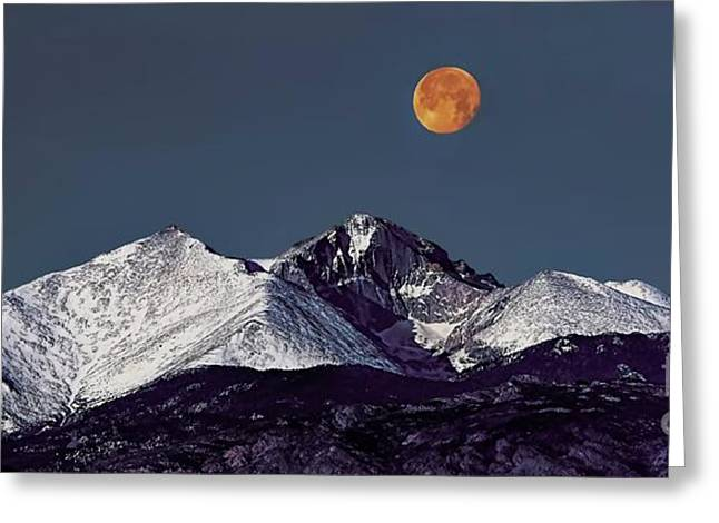 Supermoon Lunar Eclipse Over Longs Peak Greeting Card