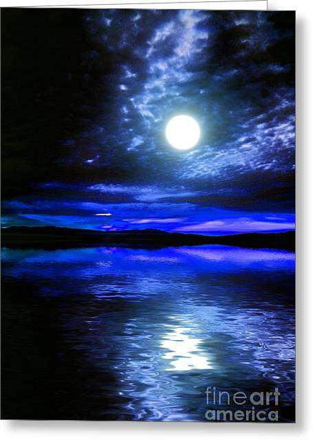 Supermoon Over Lake 2 Greeting Card