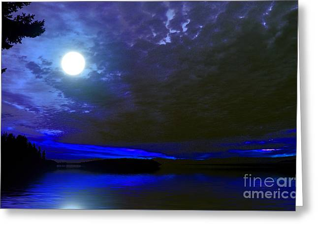 Supermoon Over Lake Greeting Card