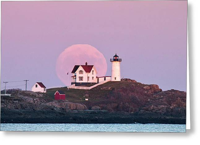 Supermoon Over Nubble Lighthouse Greeting Card by Eric Gendron