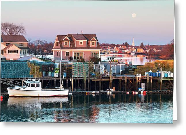 Supermoon Over Shapleigh Island Portsmouth Greeting Card by Eric Gendron