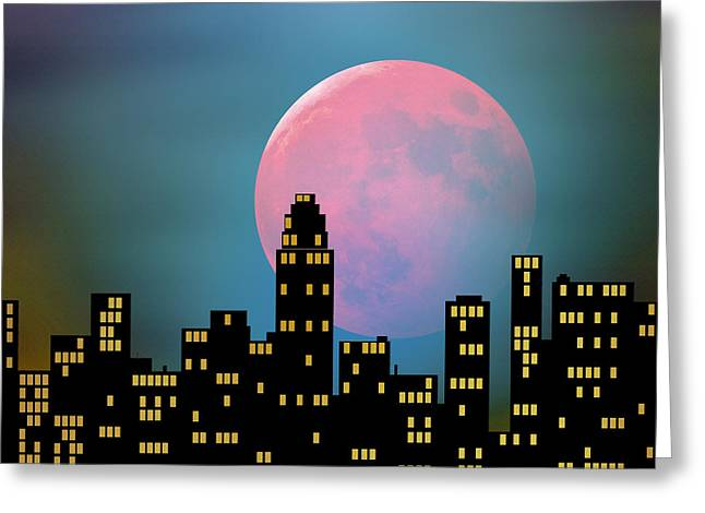 Supermoon Over The City Greeting Card