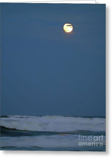 Supermoon Over The Surf Greeting Card by D Hackett