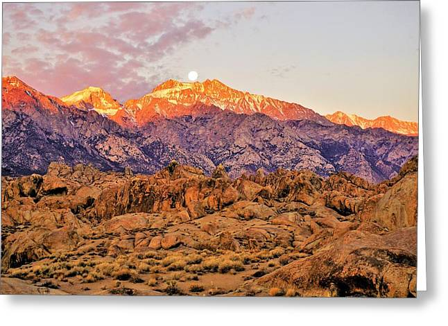 Supermoon Setting At Sunrise In The Sierra Nevada Mountains Greeting Card