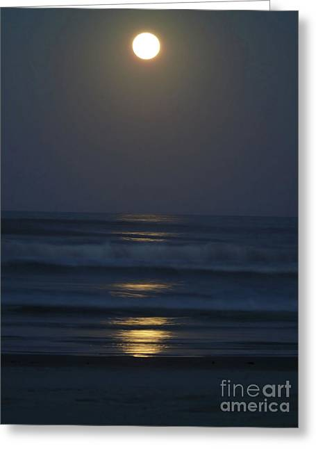 Supermoon Shines On The Atlantic Greeting Card