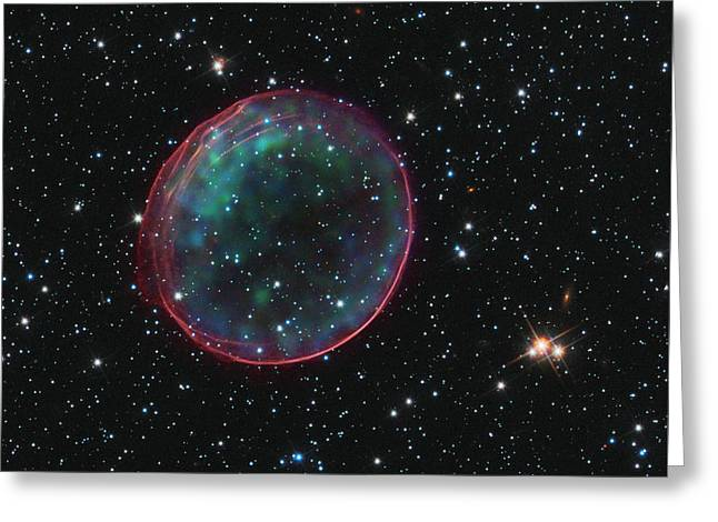 Supernova Bubble Resembles Holiday Ornament Greeting Card