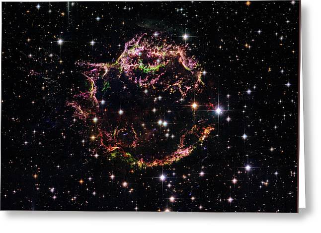 Greeting Card featuring the photograph Supernova Remnant Cassiopeia A by Marco Oliveira