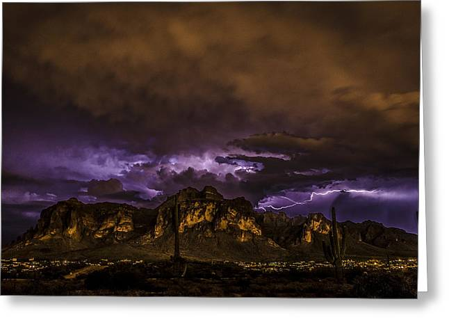 Superstition Lightning Greeting Card by Chuck Brown