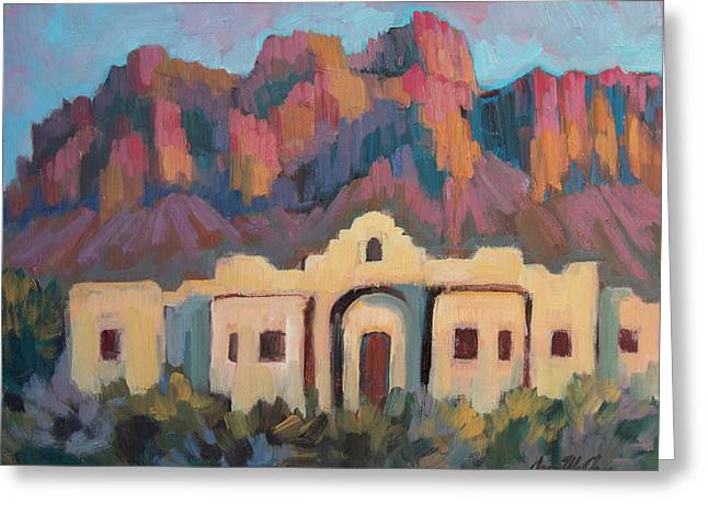 Greeting Card featuring the painting Superstition Mountain Evening by Diane McClary
