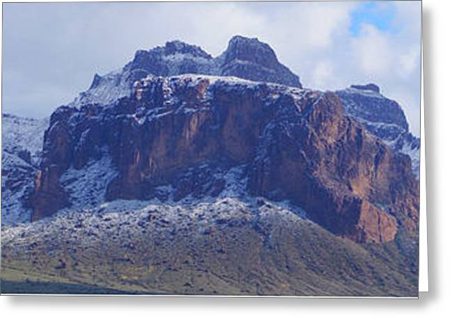 Greeting Card featuring the photograph Superstition Mountain Snowfall by Broderick Delaney