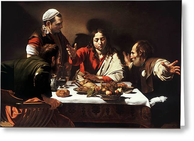 Supper At Emmaus Greeting Card by Caravaggio