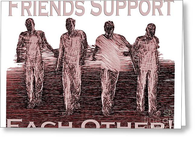 Support Friends In Bronze Greeting Card