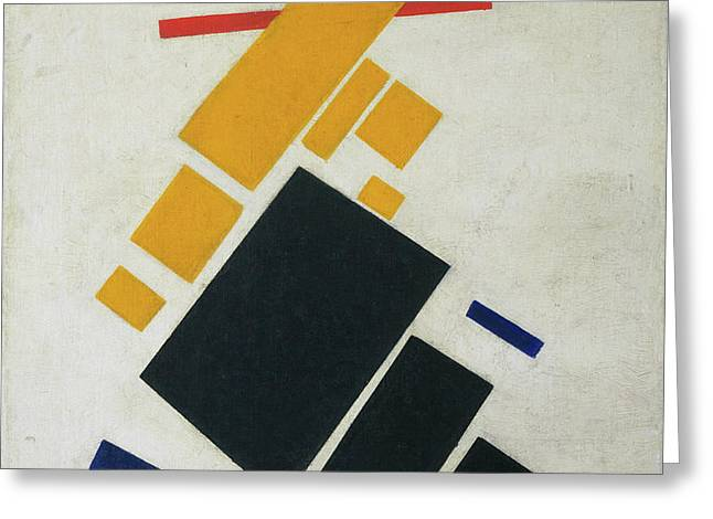 Suprematist Composition - Airplane Flying Greeting Card by Kazimir Malevich