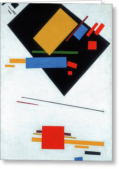Suprematist Painting, With Black Trapezium And Red Square Greeting Card by Kazimir Malevich