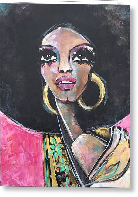 Greeting Card featuring the painting Supreme Love For Diana Ross by Laurie Maves ART
