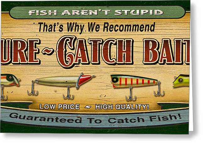 Sure Catch Baits Sign Greeting Card by Jon Q Wright