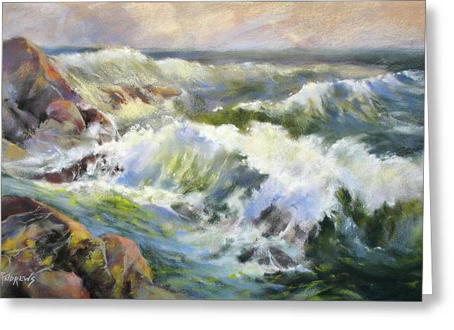 Surf Action Greeting Card by Rae Andrews