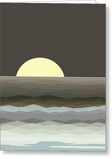 Surf At Moonrise Greeting Card by Val Arie