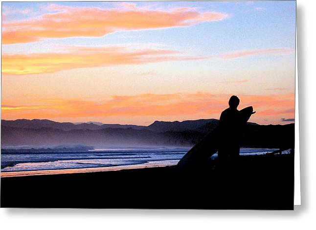Surf At Sunset Greeting Card