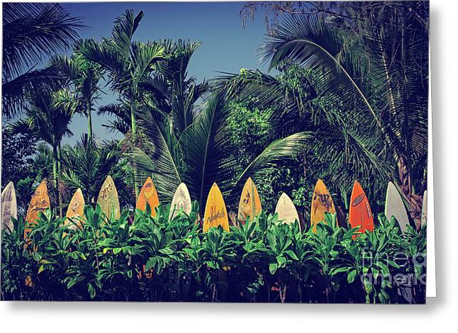 Surf Board Fence Maui Hawaii Vintage Greeting Card
