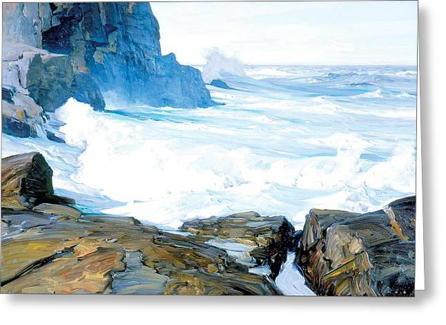 Surf Breaking  The Cliff Greeting Card by Frederick