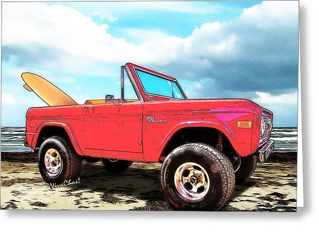Surf Bronco Beyond The 4 Wheel Drive Only Sign Padre Island Greeting Card