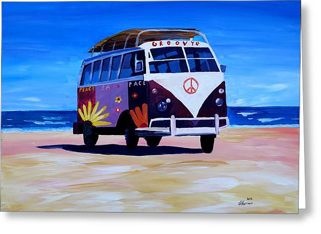 Surf Bus Series - The Groovy Peace Vw Bus Greeting Card by M Bleichner