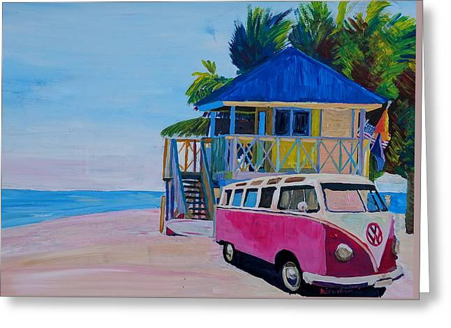 Surf Bus Series - Beach House With Red Vw Surf Bus Greeting Card by M Bleichner