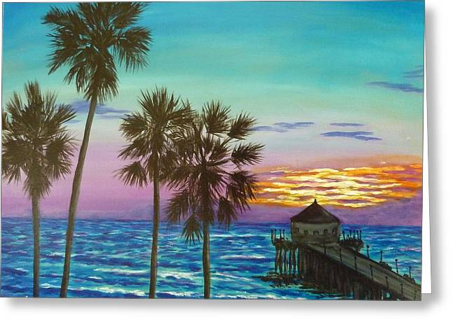 Surf City Sunset Greeting Card
