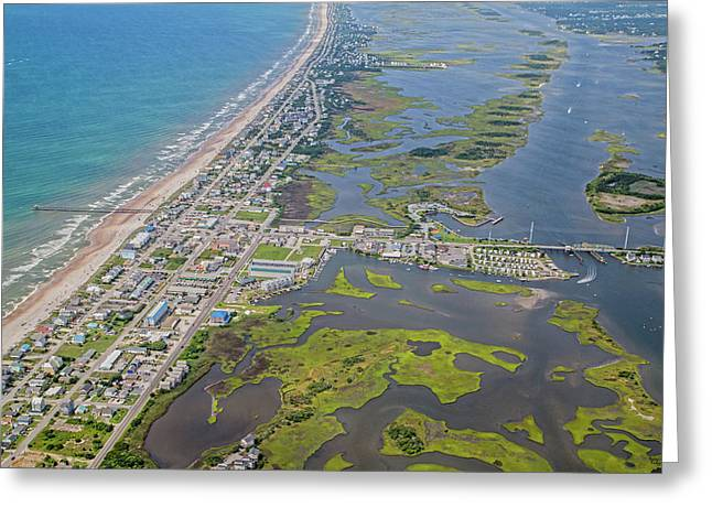 Surf City Topsail Island Aerial Greeting Card by Betsy Knapp