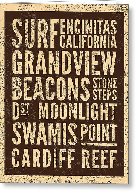 Surf Encinitas California Greeting Card by Mark Kingsley Brown