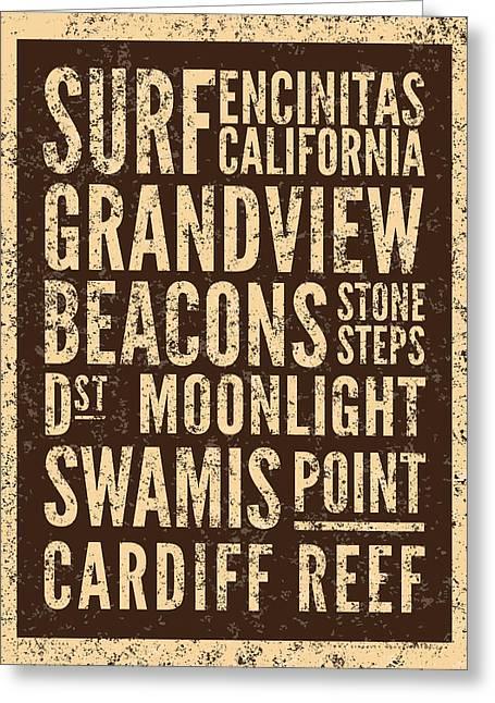 Surf Encinitas California Greeting Card