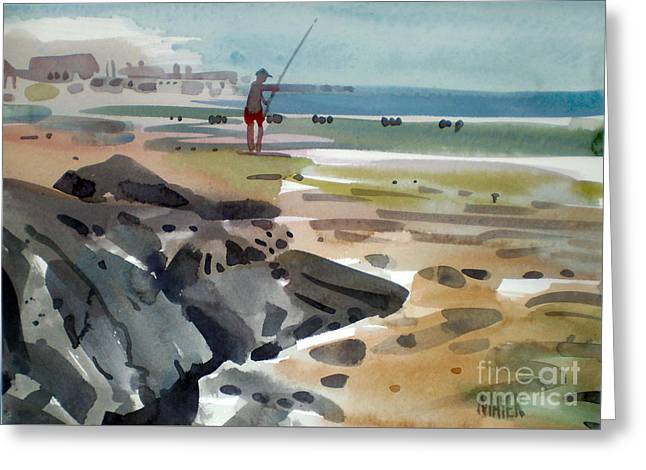 Surf Fishing At Belmar Greeting Card by Donald Maier
