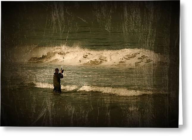 Surf Fisherman - Jersey Shore Greeting Card by Angie Tirado