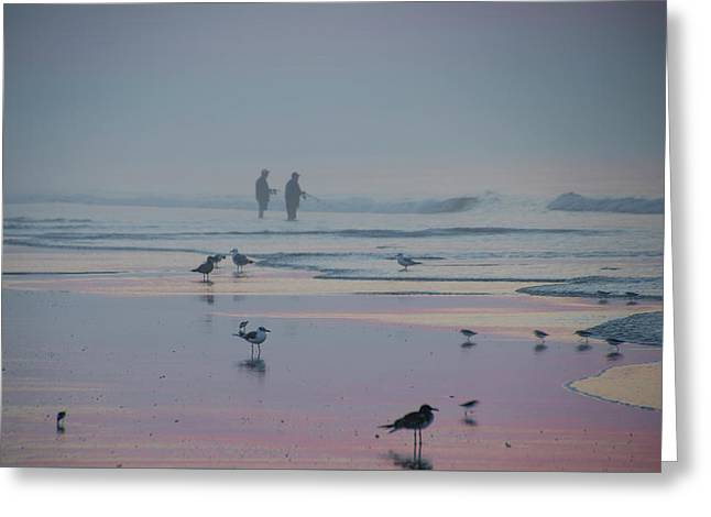 Surf Fishing In Wildwood Greeting Card by Bill Cannon