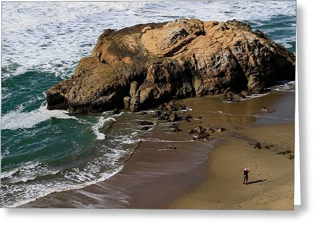 Surf Fishing At Ocean Beach Greeting Card