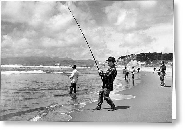 Surf Fishing At Ocean Beach Greeting Card by Underwood Archives